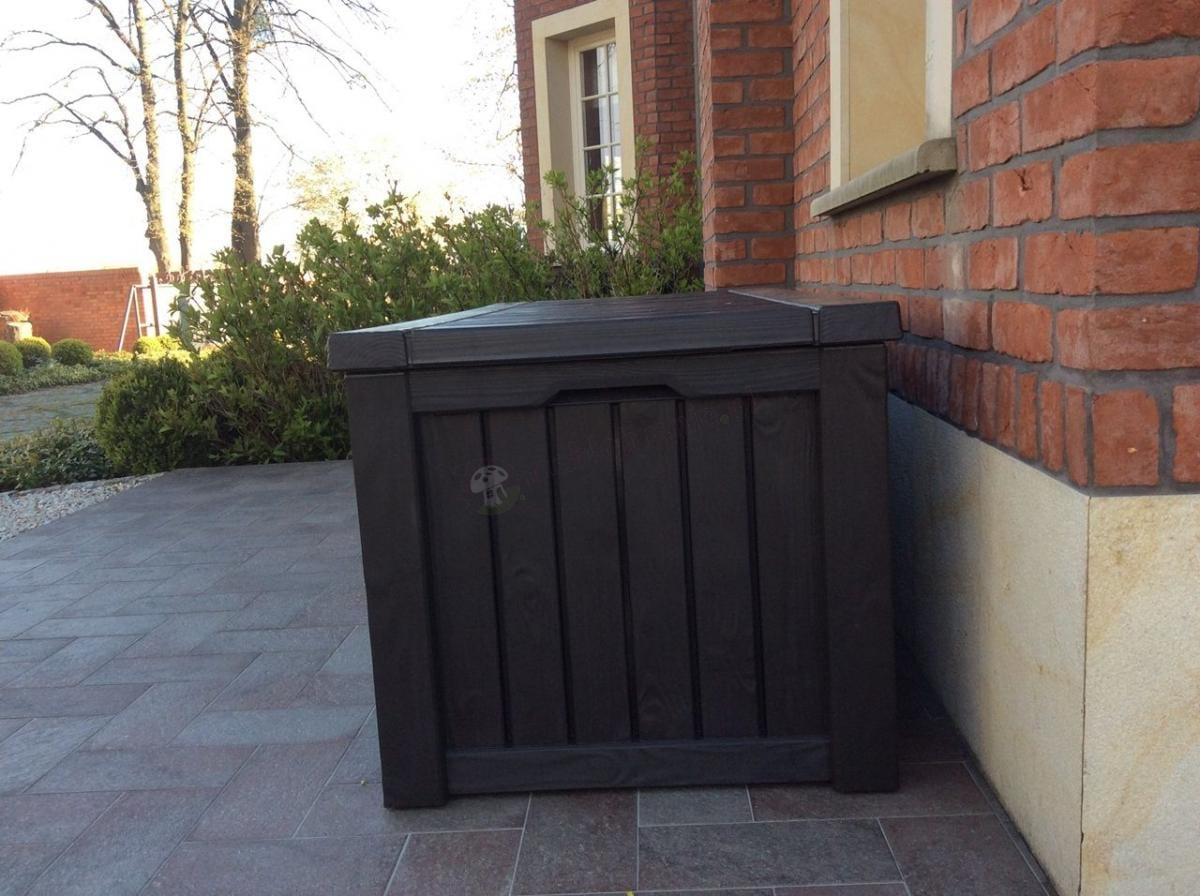 Pojemnik skrzynia ogrodowa z wzorem naśladującym drewno