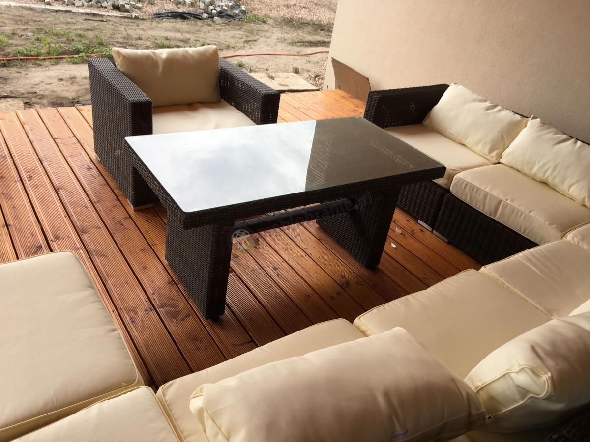Potężny zestaw na taras z fotelem, narożnikiem i wysokim stołem Ligurito