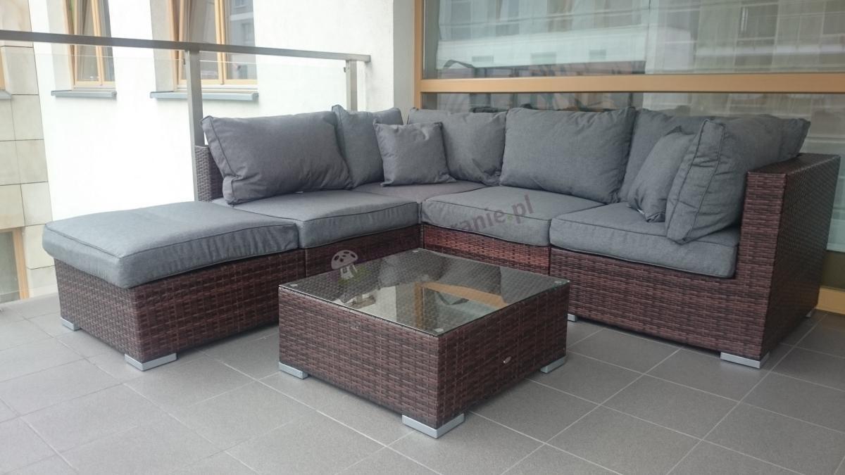 Rozbudowany zestaw balkonowy Nilamito brązowy z szarymi poduszkami