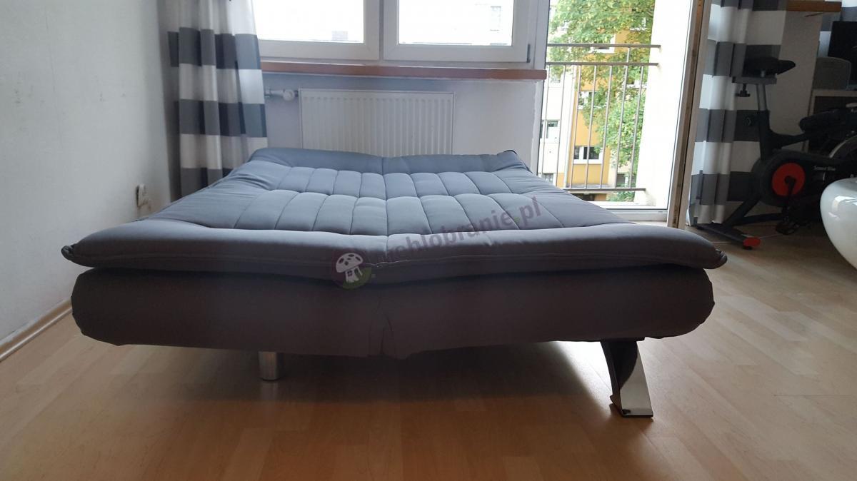 Rozłożona sofa do salonu kanapa rozkładana szara, wygodna Actona