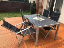 Aluminiowe meble ogrodowe z regulowanymi krzesłami Sydney Silver