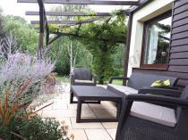 Aranżacja: Corfu Set Lyon Max brązowy zestaw mebli ogrodowych z regulowanym stołem