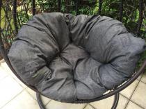 Aranżacja: Fotel wiszący kokon technorattanowy - DONDOLO Brown Elite/Grey