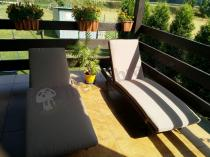 Aranżacja: Komplet leżaków technorattanowych z poduszką Nilamito Brown & Caffe