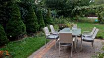 Aranżacja: Komplet z technorattanu na taras stół 160cm i 6 krzeseł Lautaro Double Grey