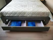 Aranżacja: Szare łóżko z tapicerowanym zagłówkiem 160x200 Camagu