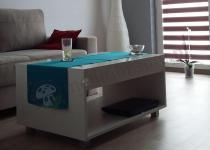 Biały stolik do salonu z szufladką Kudo