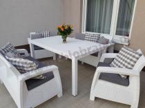 Biały zestaw Corfu Fiesta z poduszkami w kratkę
