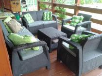 Brązowy zestaw mebli ogrodowych Corfu Set Triple Max
