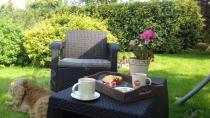 Brązowy zestaw mebli ogrodowych Corfu Weekend Curver