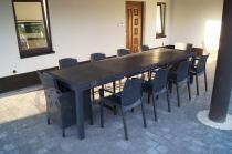 Czarne meble ogrodowe na duży taras dla 10 osób Corfu Symphony