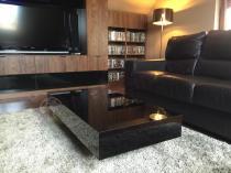 Czarny stolik do salonu 120 cm wysokość 35 cm