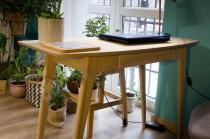 Designerskie biurko w stylu skandynawskim drewniane dębowe