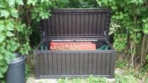 Duża skrzynia ogrodowa na poduszki tarasowe z siedziskiem 570L