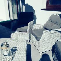 Elegancki zestaw kawowy technorattan z niskim stolikiem Trivento