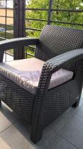Fotel technorattan Corfu grafitowy z szarą poduszką
