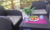 Fotele ogrodowe z technorattanowym wzorem brązowe