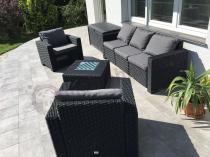 Grafitowe meble ogrodowe plastikowe plecione California 3 Seater