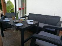 Grafitowy komplet ogrodowy z podnoszonym stolikiem Corfu Set Lyon Max