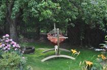 Hamak ogrodowy na stelażu w kolorze terrakota