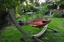Hamak ogrodowy ze stelażem drewnianym model Iza