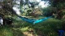 Hamak wyprawowy Colibri rozwieszony pośród drzew