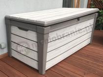 Jasna skrzynka balkonowa na poduszki z drewnopodobnego tworzywa Keter