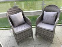 Klasyczne fotele technorattanowe na balkon z poduszkami Altito
