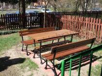 Komplet dwóch ławek 150cm i stołu ogrodowego