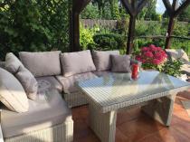 Komplet obiadowy technorattan biały balkonowy Ligurito V Plus Off-White Elite & Taupe