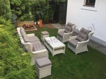 Komplet ogrodowy z technorattanu Trivento 3 Melange White z pufami