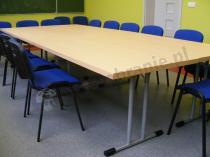 Krzesła konferencyjne ISO z tapicerowaniem niebiesko-czarnym