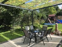 Krzesła ogrodowe metalowe ze szklanym stołem Bologna Mixed Grey