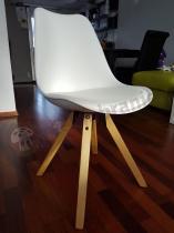 Krzesło do jadalni nowoczesne plastikowe z tapicerowanym siedziskiem