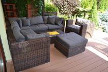 Ładne meble ogrodowe z technorattanu na dużym tarasie - Ligurito IX z fotelem
