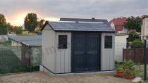 Ładny i duży domek, schowek ogrodowy z tworzywa z oknami Keter Oakland