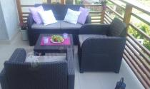 Meble balkonowe z technorattanowym wzorem brązowe