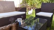 Meble brązowe w ogrodzie - Comodo z płaskiego technorattanu
