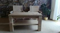 Meble do salonu - ława rozkładana w odcieniu dąb sonoma i 2 fotele