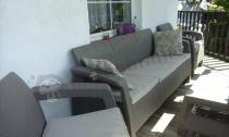 Meble ogrodowe cappuccino Corfu Set Max z sofą trzyosobową