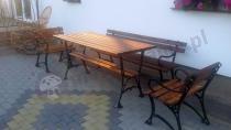 Meble ogrodowe drewniane stół z drewna, ławka i fotele drewniane