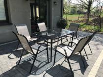 Meble ogrodowe metalowe siatkowe siedziska textiline szare