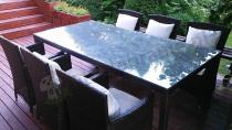 Meble ogrodowe technorattan 6 foteli zestaw stołowy