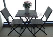 Meble ogrodowe technorattan na balkon brązowy