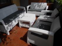 Meble ogrodowe zestaw Corfu w kolorze białym