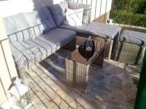 Meble technorattan na balkon narożnik Canvas z pufą