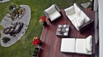 Meble technorattan sofa modułowa zestaw kawowy na taras