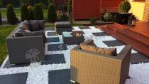 Nowoczesne meble ogrodowe z technorattanu szara plecionka