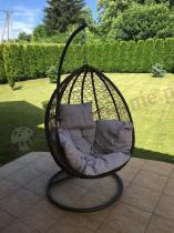 Nowoczesny fotel bujany na łańcuchu ogrodowy z technorattanu