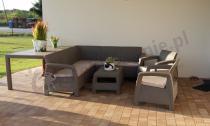 Ogrodowy zestaw wypoczynkowy na przydomowym tarasie Corfu